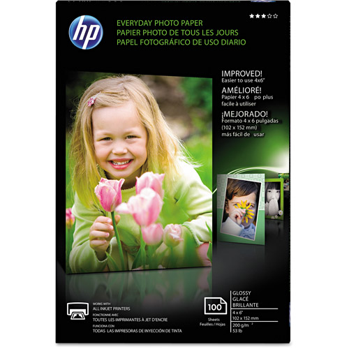 "HP Everyday Glossy Photo Paper, 53 lbs, 4"" x 6"", 100 Sheets/Pack"