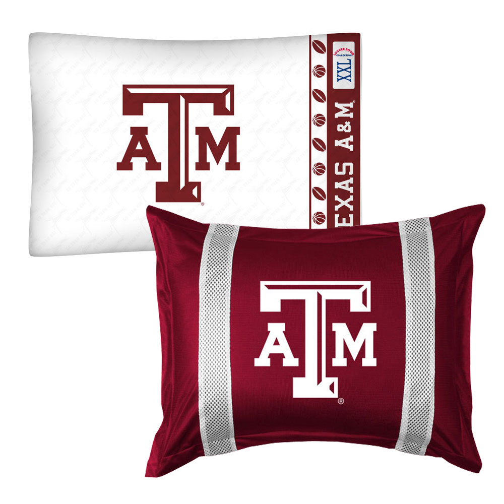 2pc NCAA Texas A-M Aggies Pillowcase and Pillow Sham Set College Team Logo Bedding Accessories