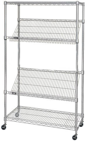24 u0026quot  deep x 36 u0026quot  wide x 80 u0026quot  high 4 tier slanted wire shelf truck