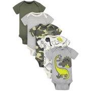 Gerber Baby Boy Short Sleeve Bodysuits, 5-Pack, Newborn-24 Months
