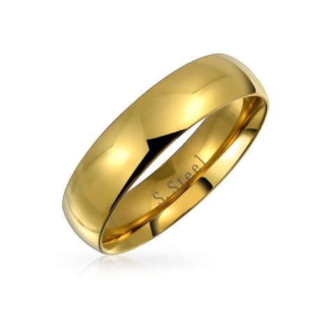 Dome Comfort Fit Wedding Band Ring For Couples For Men For Women 14K Gold Plated Stainless Steel