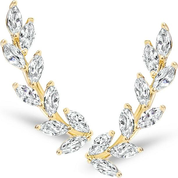 gift for her gold ear climber gold earrings ear jacket ear pins ear climber Ear jacket ear crawler Silver Swarovsky gold ear jacket