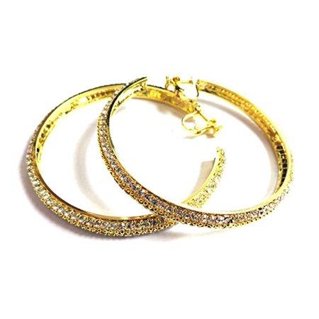 Clip On Earrings Rhinestone Paved Hoop Gold Tone 2 75 Inch Hoops