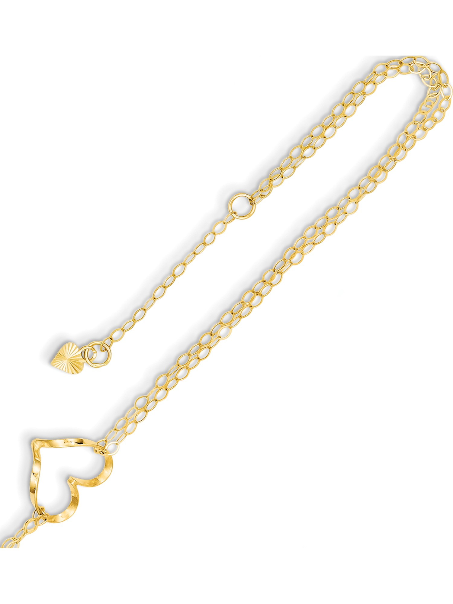 14k Yellow Gold Double Strand Heart 9 With 1 Ext Anklet