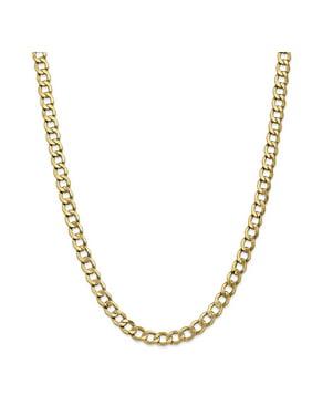 Primal Gold 14 Karat Yellow Gold 7.0mm Semi-Solid Curb Link Chain