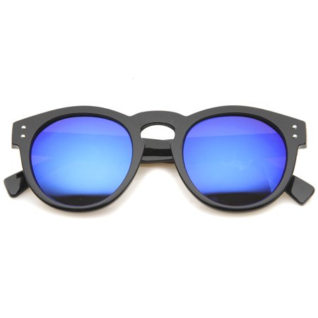 520c6c4a82 sunglassLA - sunglassLA - Womens Horn Rimmed Sunglasses With UV400  Protected Mirrored Lens (Black   Ice) - 48mm - Walmart.com