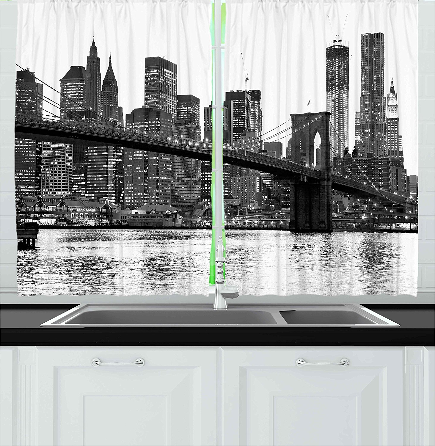 Modern Kitchen Curtains By Brooklyn Bridge Sunset With Manhattan American New York City Famous Town Image Window Drapes 2 Panels Set For Kitchen Cafe 55 W X By Ambesonne Walmart Com Walmart Com