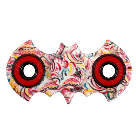 Tri Hand Spinner Fidget Spinners Bat Oil Painting Pastel Colors ( Ring Colors Vary ) limited Design Toy Stress Reducer Ball Bearing - May help with ADD, ADHD, Anxiety, and Autism Adult Children