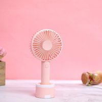 Mini handheld fan with mobile phone stand fan, portable silent large wind USB handheld fan(pink)