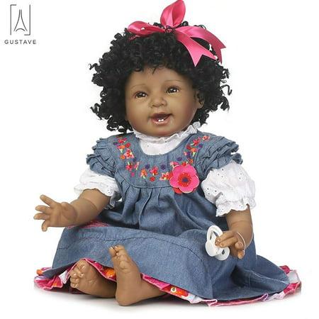 GustaveDesign Realistic Black Newborn Baby Dolls 22inch Reborn Girl Doll Kids Education Baby Playmate Cute Doll Handmade Xmas Gift
