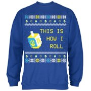 Hanukkah This is How I Roll Dreidel Ugly Christmas Sweater Mens Sweatshirt Royal MD