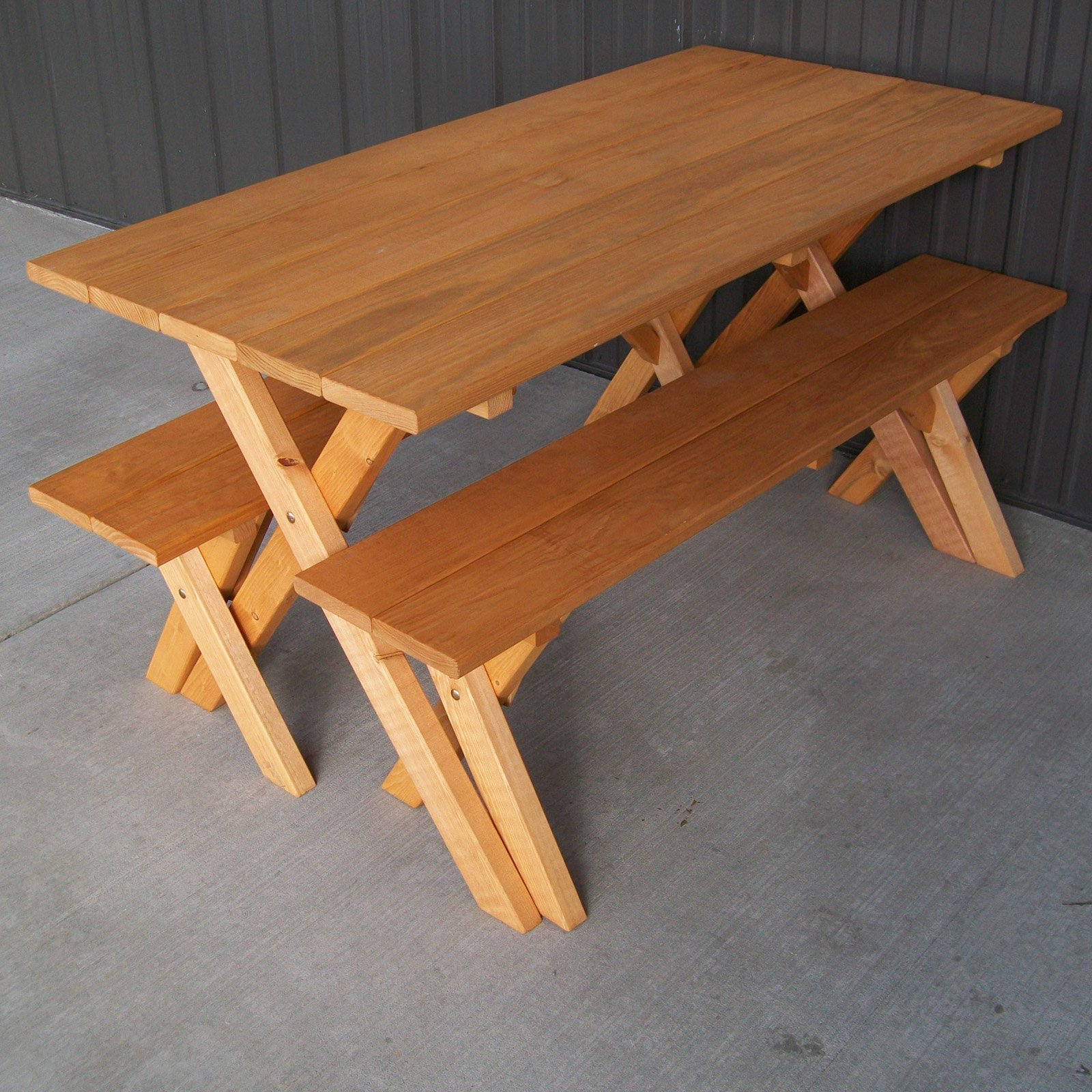 Picnic bench 1 piece folding picnic table woodworking for Cross leg table plans