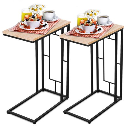 Costway Set Of 2 Coffee Tray Side Sofa End Table Ottoman Couch Room Stand TV Lap Snack