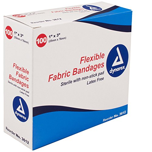"""5 Pack Dynarex Sterile Fabric Bandages 1""""X3"""" latex free  #3612 100 Band Aids Ea"""