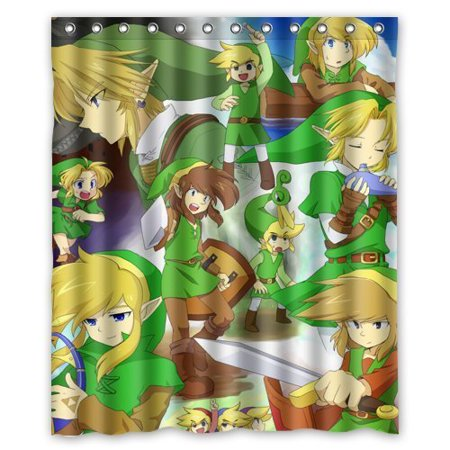 DEYOU The Legend Of Zelda Cartoon Picture Shower Curtain Polyester Fabric Bathroom Size 60x72