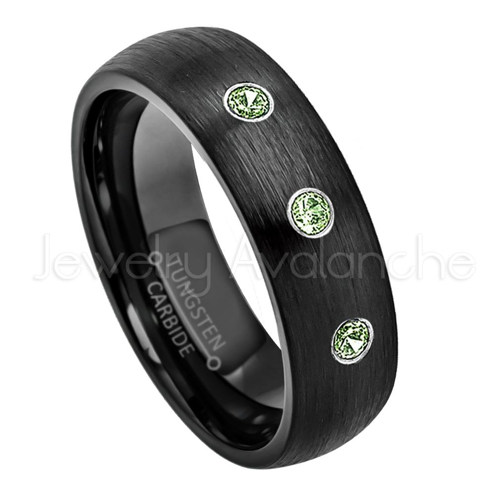 6mm Brushed Dome Black Tungsten Ring 0.21ctw Green Tourmaline 3-stone Band Personalized Tungsten Wedding Ring Custom... by Jewelry Avalanche