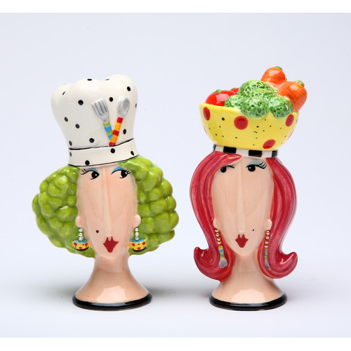 Cosmos Gifts Chef Lady Salt and Pepper Set
