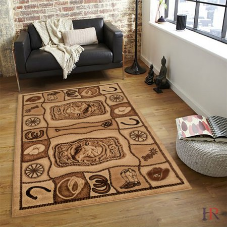 Hr Rustic Style Area Rug For Cabin Western Boot Hat Horse Shoe And