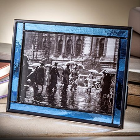 J Devlin Pic 324-57HV Blue Stained Glass 5x7 Picture Frame Home Decor Photo Frame Keepsake Gift ()
