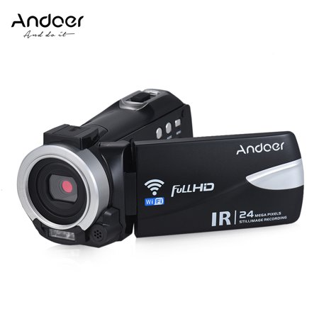 Andoer 1080P FHD 24M WiFi Digital Video Camera Camcorder Recorder DV with IR Night Vision/ 16X Zoom/ Remote Control/ Hot Shoe Mount for External Microphone Digital Cameras Hot Shoe