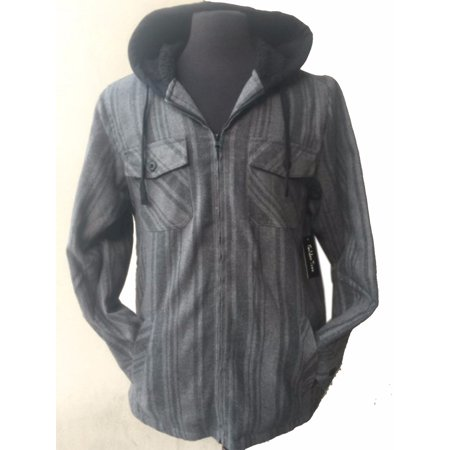 Tall & Warm Men's Full Zip Hooded Flannel & Sherpa Lined Long Sleeve Soft Fabric Warm Hoodie Jacket
