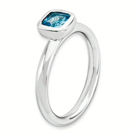 Sterling Silver Stackable Expressions Cushion Cut Blue Topaz Ring Size 6 - image 1 de 3