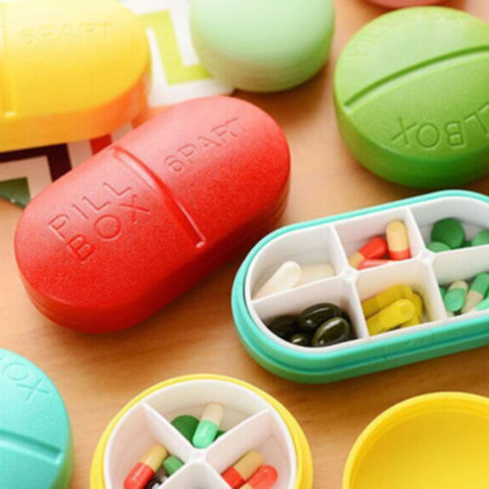 Heepo 6 Compartments Portable Medicine Case Pill Shaped Tablet Box Organizer Container