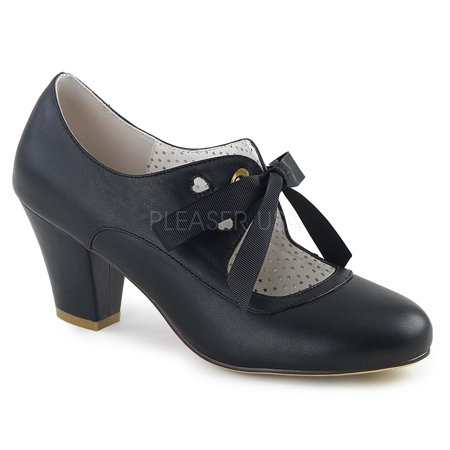 WIGGLE-32, 2 1/2'' Cuben Heel Mary Jane Pump Shoes - Mary Jane Pumps With Chunky Heel
