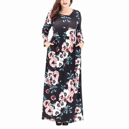 b49c765182375 Akoyovwerve - Womens Plus Size Floral Print Boho Dress, Ladies Long Sleeve  Round Neck Evening Party Long Maxi Dress,Black - Walmart.com