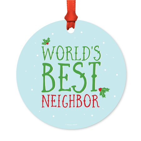Funny Metal Christmas Ornament, World's Best Neighbor, Holiday Mistletoe, Includes Ribbon and Gift
