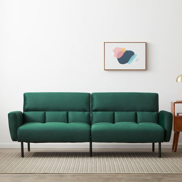 Mayview Sofa Bed with Box Tufting, Green Velvet
