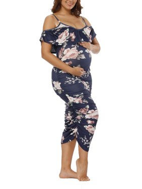 e7f1c0050bab6 Product Image Maternity Dresses for Pregnant Women Long Maxi Photography  Props Gown Off Shoulder Floral Print Casual Loose