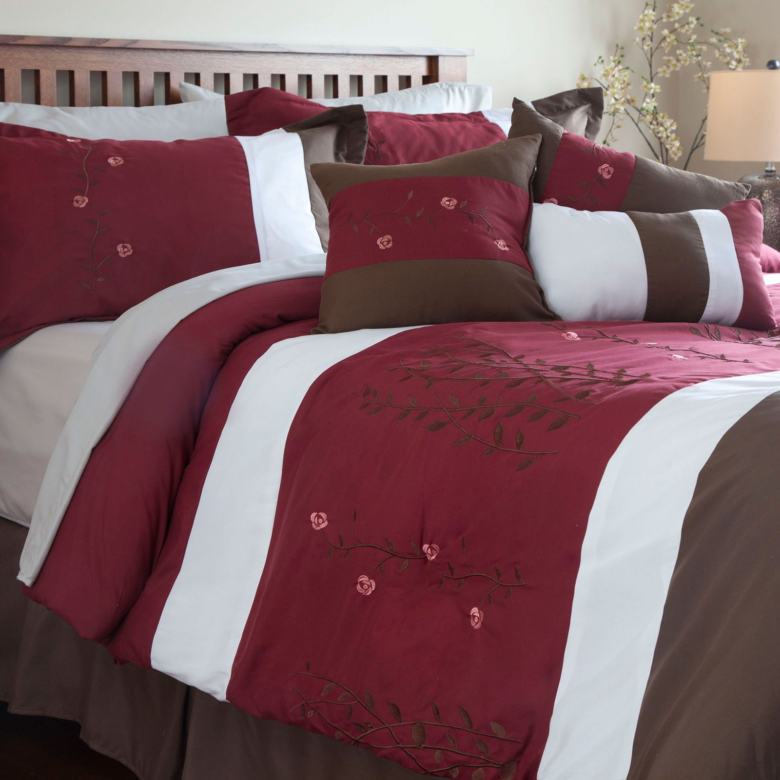 Sarah 7 Piece Embroidered Comforter Set by Lavish Home