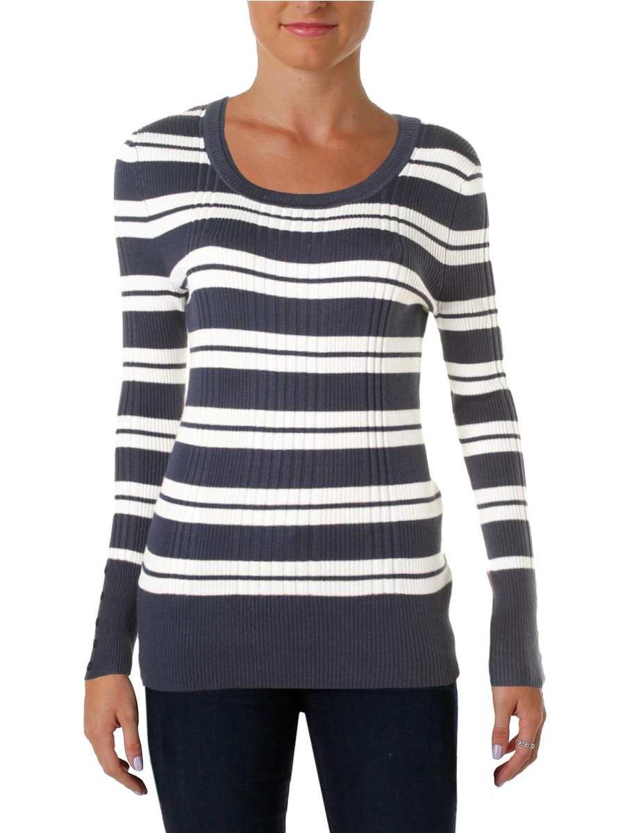 Hooked Up by IOT Juniors Lace-Up Varsity-Stripe Sweater