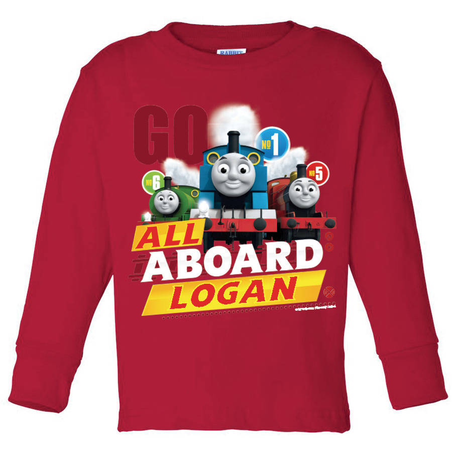 Personalized Thomas and Friends All Aboard Red Toddler Long Sleeve Tee