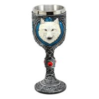 "Ebros ""Ghost"" White Albino Snow Wolf Wine Goblet 7oz Direwolf Celtic Wine Chalice Goblet Cup"