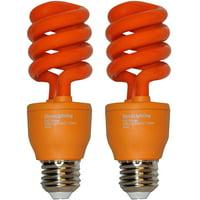 SleekLighting 13 Watt Orange Spiral CFL Light Bulb - UL Approved- 120 Volt, E26 Medium Base. (Pack of 2)