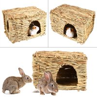 EOTVIA Small Animal Grass House,Hamster Grass Cage,1PC Small Pet Animal Hand-woven Grass Cage Hamster Playing Sleeping House