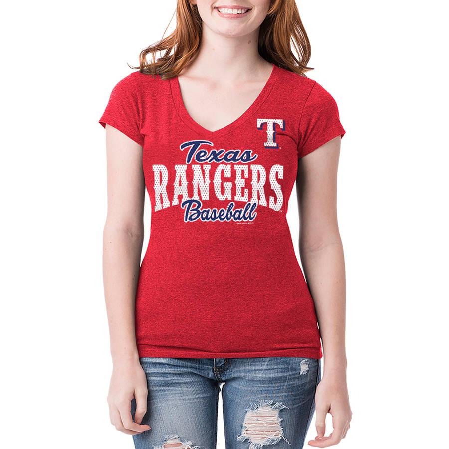 Texas Rangers Womens Short Sleeve Team Color Graphic Tee