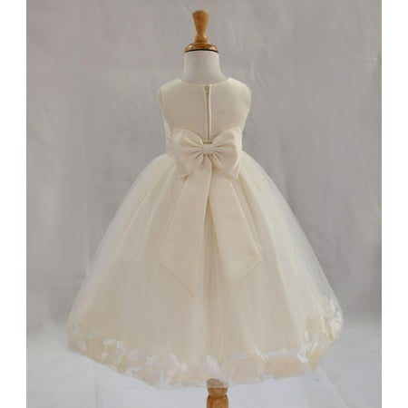 Ekidsbridal Satin Ivory Tulle Petal Christmas Junior Bridesmaid Recital Easter Holiday Wedding Pageant Communion Princess Birthday Girl Clothing Baptism 302T size 2 Flower Girl Dress (Christmas Dress Up For Kids)