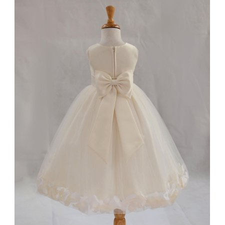 Ekidsbridal Satin Ivory Tulle Petal Christmas Junior Bridesmaid Recital Easter Holiday Wedding Pageant Communion Princess Birthday Girl Clothing Baptism 302T size 2 Flower Girl Dress - Girls Size 8 Christmas Dress