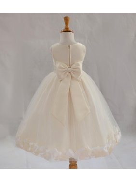 Product Image Ekidsbridal Satin Ivory Tulle Petal Christmas Junior Bridesmaid Recital Easter Holiday Wedding Pageant Communion Princess Birthday