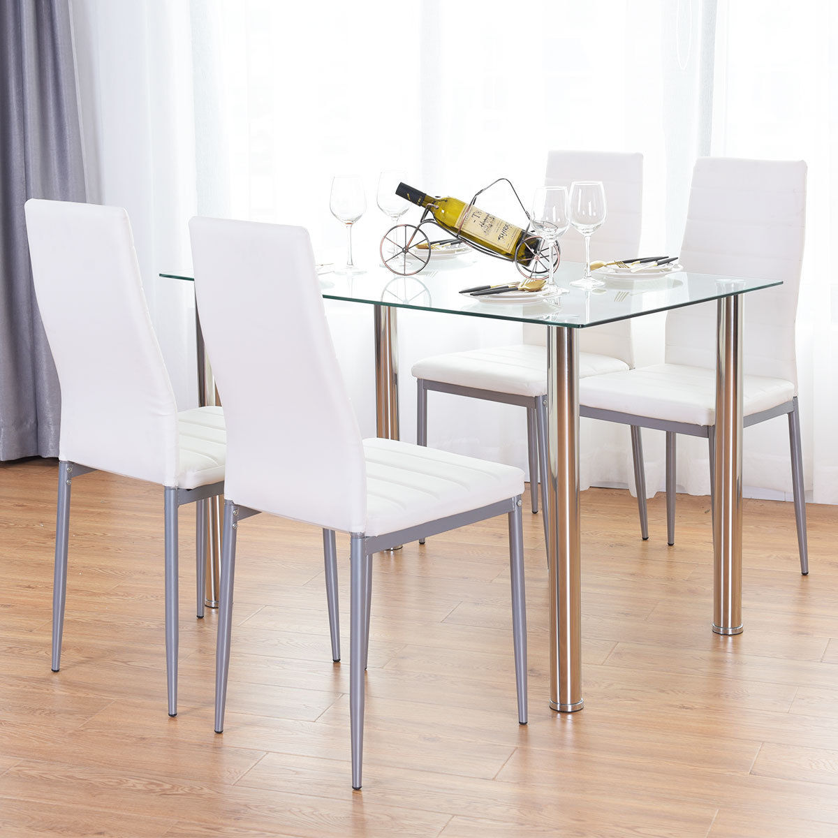Costway 5 Piece Dining Set Table and 4 Chairs Glass Metal Kitchen Breakfast Furniture