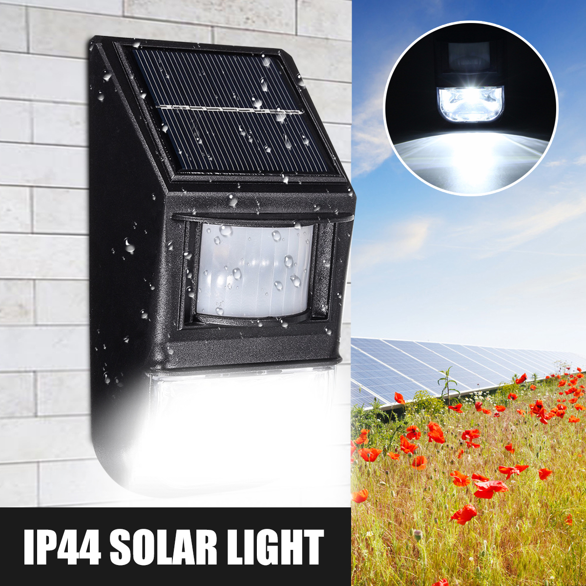 50 LED Ul tra Bright Solar Lights Garden Outdoor PIR Motion Sensor Easy Install Waterproof Security Lamp IP44 for Front Door, Back Yard, Driveway, Garage