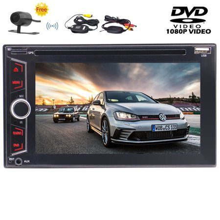 Eincar Double Din Car Stereo 6.2 Inch Multi-Touch Screen Head Unit In Dash Car Radio Audio Vehicle DVD/CD Player Support USB/SD/AUX-IN Subwoofer 1080P Video Play & Free Wireless Rear Camera No GP