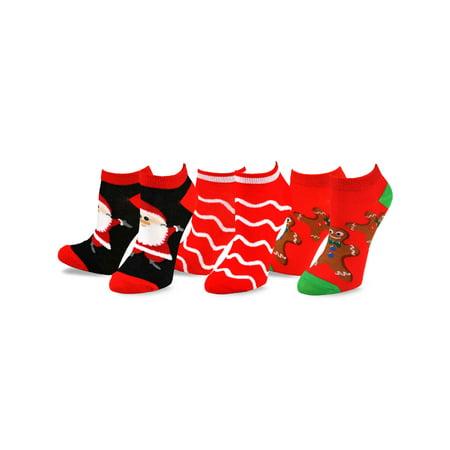TeeHee Christmas and Holiday Fun No Show Socks for Women 3-Pack (Cheap Christmas Socks)