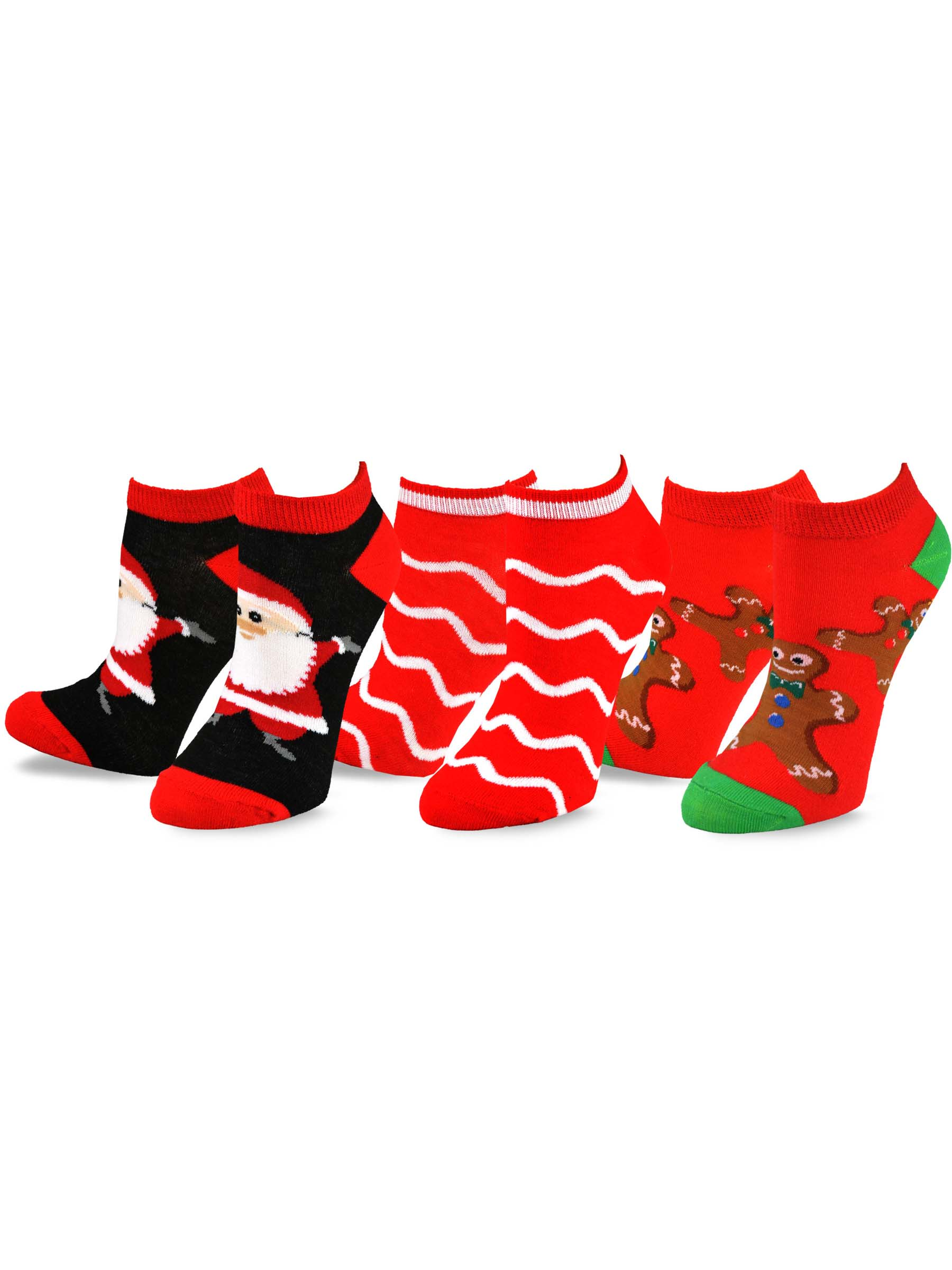 TeeHee Christmas and Holiday Fun No Show Socks for Women 3-Pack