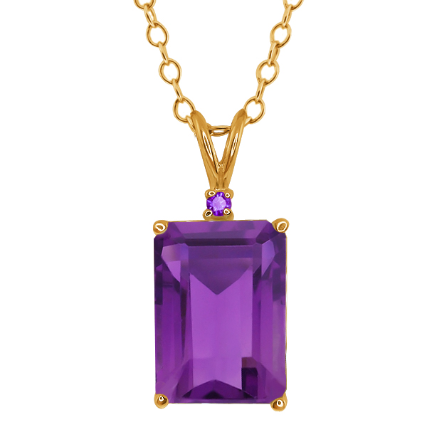 7.12 Ct Octagon Purple Amethyst Gold Plated Sterling Silver Pendant