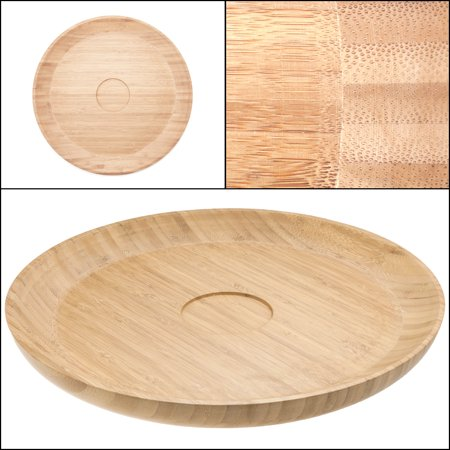 "Salsabol 15"" Bamboo Serving Platter Chip Dip Wooden Tray Appetizer Round Circle Bowl"