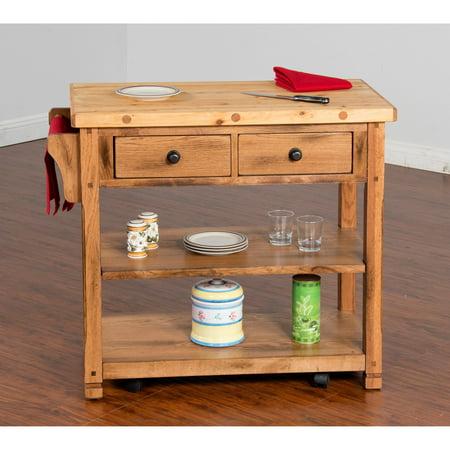 sunny designs sedona butcher blockkitchen island cart - Butcher Block Kitchen Cart